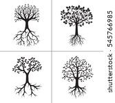 set black tree and roots.... | Shutterstock .eps vector #545766985