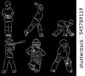 simple line art of baseball... | Shutterstock .eps vector #545789119