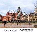 Small photo of WARSAW, POLAND - MARCH 6, 2016: Adam Mickiewicz monument at the Skwer Adama Mickiewicza