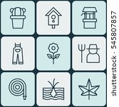 set of 9 planting icons.... | Shutterstock . vector #545807857
