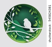 paper art carve to bird on tree ... | Shutterstock .eps vector #545824381