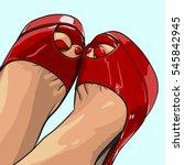 close up beautiful women's legs ... | Shutterstock .eps vector #545842945