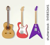 cute vector guitars... | Shutterstock .eps vector #545852641