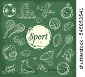 sport sketch equipment. drawing ... | Shutterstock .eps vector #545853541