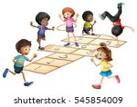 kids playing hopscotch in the... | Shutterstock .eps vector #545854009