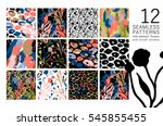 set of abstract floral seamless ... | Shutterstock .eps vector #545855455