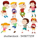 different kids being sick and... | Shutterstock .eps vector #545877259