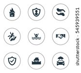 set of 9 simple safeguard icons.... | Shutterstock .eps vector #545939551