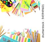 Colorful School Supplies On...