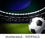 soccer ball on the stadium with lighting, eps10 format - stock vector