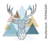 Geometric reindeer illustration. Vector low poly line art. Geometric deer head. Scandinavian style   Shutterstock vector #545966269