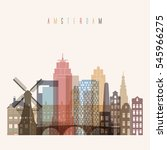 transparent style amsterdam... | Shutterstock .eps vector #545966275