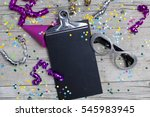 carnival confetti on wood... | Shutterstock . vector #545983945