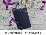 carnival confetti on wood... | Shutterstock . vector #545983951