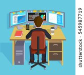 person working at the computer. ... | Shutterstock .eps vector #545987719