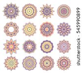 set of oriental abstract round... | Shutterstock .eps vector #545990899
