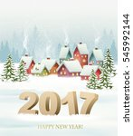 winter village night new year... | Shutterstock .eps vector #545992144