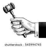 hand holding judges gavel.... | Shutterstock .eps vector #545994745