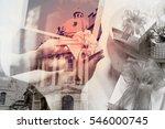 double exposure of creative... | Shutterstock . vector #546000745