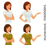 cute cartoon girl with her arms ... | Shutterstock .eps vector #546000841