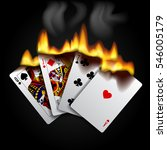 burning playing cards on black | Shutterstock . vector #546005179