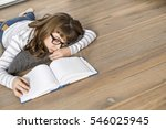 high angle view of teenage girl ... | Shutterstock . vector #546025945