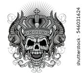 gothic coat of arms with skull... | Shutterstock .eps vector #546031624