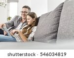 portrait of smiling father... | Shutterstock . vector #546034819