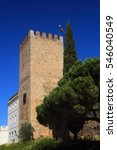 Small photo of Tower of the medieval Castle of Alter do Chao against a deep blue sky, in the Portalegre District. Alto Alentejo, Portugal.