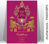 indian wedding invitation card... | Shutterstock .eps vector #546043891