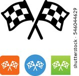 two checkered flags racing icon | Shutterstock .eps vector #546044629