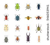 set of insects flat style...   Shutterstock .eps vector #546053941