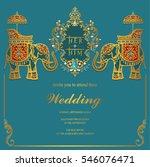 indian wedding invitation card... | Shutterstock .eps vector #546076471