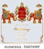 Indian wedding card free vector art 18986 free downloads seamless floral border indian wedding invitation card templates with gold elephant patterned and crystals on paper color stopboris Image collections