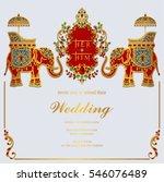 indian wedding invitation card... | Shutterstock .eps vector #546076489