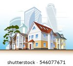 cottages and skyscrapers | Shutterstock .eps vector #546077671