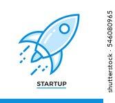 linear icon of rocket launch.... | Shutterstock .eps vector #546080965