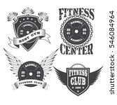 set of vintage gym crossfit and ... | Shutterstock .eps vector #546084964