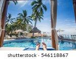 Resort Cabana Pool View With...