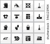 set of 16 editable cleaning... | Shutterstock . vector #546123904