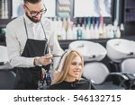 smiling stylist is dying long... | Shutterstock . vector #546132715
