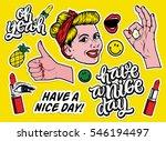 vector sticker set. smiling...   Shutterstock .eps vector #546194497