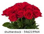 Stock photo bouquet of fresh valentine red roses isolated on white background 546219964