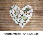 Seashore Glass Pebble Heart On...