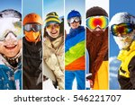 photo collage on ski theme with ... | Shutterstock . vector #546221707