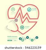 red stethoscope in shape of... | Shutterstock .eps vector #546223159