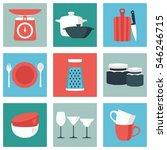kitchenware flat design color... | Shutterstock .eps vector #546246715