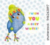 cozy blue watercolor owlet in...   Shutterstock . vector #546262897