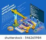 mobile app development. flat 3d ... | Shutterstock .eps vector #546265984