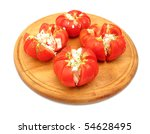 tomatoes and onion salad on...